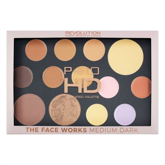Makeup Revolution REVOLUTION HD Palette Paleta do konturowania - The Works Medium/Dark